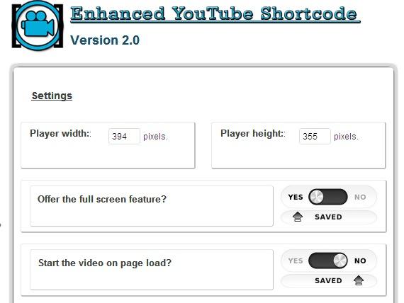 Настройки плагина Enhanced Youtube shortcode