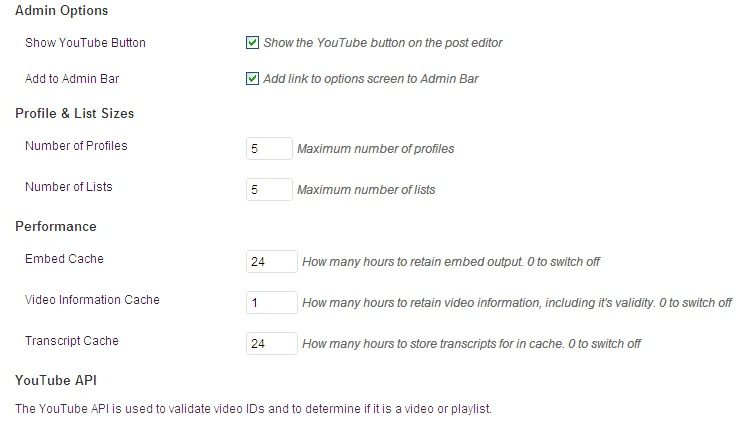 Настройки плагина Artiss YouTube Embed