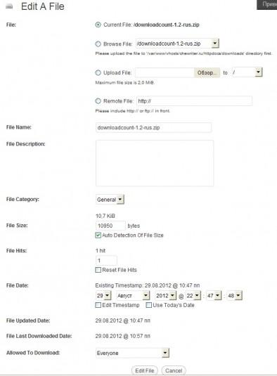 Настройки для одного из файлов с использованием WP-DownloadManager