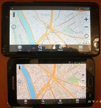 Навигация на обоих смартфонах