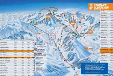 Схема горнолыжных трасс Штубайского ледника