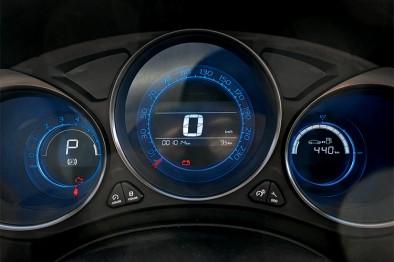 Подсветка панели приборов на Ситроен С4 седан бело-голубая