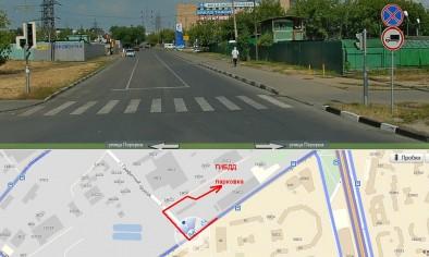 Поворот с Перервы на Графитный проезд, вдалеке - заправка Газпрома, перед ней - направо