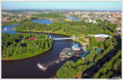 Ярославль, мост через Которосль. В стиле миниатюры.