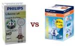 Сравнение светимости автомобильных галогеновых ламп Philips H7 LongLife EcoVision x4 и H7 OSRAM Ultra Life x3