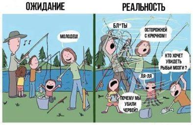 Ожидание и реальность на рыбалке