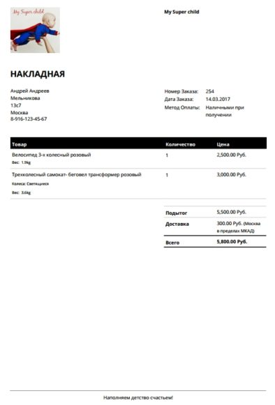 Бланк заказа WooCommerce PDF Invoices & Packing Slips