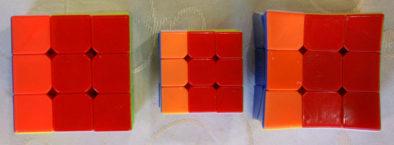Сравнение красного и оранжевого на трех кубиках