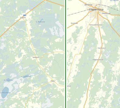 Дорога из Лудони и Старой Руссы: отличие на ЯК