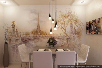 Виды Парижа на стене
