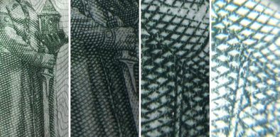 Фрагмент тысячной купюры: просто смартфон; через лупу; через макролинзу; через микроскоп