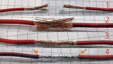 Примерно так выглядит пропаянная скрутка многожильного провода
